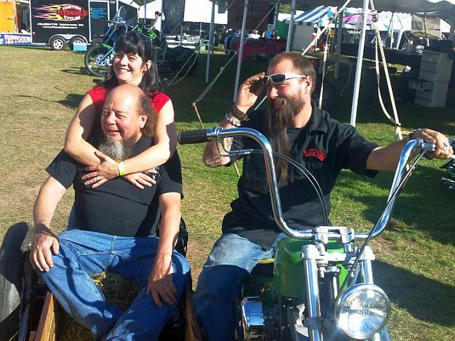 Rick and Tina Beauregard with Ron Finch in sidecar.